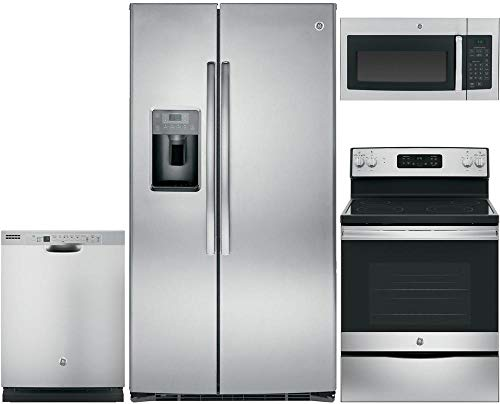 GE 4-Piece Stainless Steel Kitchen Package with GSE25HSHSS 36