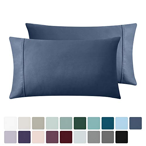 California Design Den 400 Thread Count 100% Cotton Pillow Cases, Indigo Batik Standard Pillowcase Set of 2, Long - Staple Combed Pure Natural Cotton Pillowcase, Soft & Silky Sateen Weave