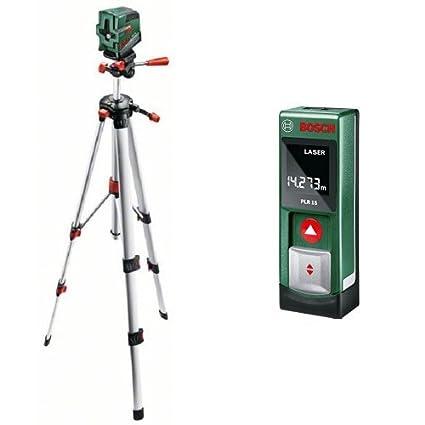 Bosch PCL 20 Set - Nivel láser con función de plomada + PLR 15 - Medidor