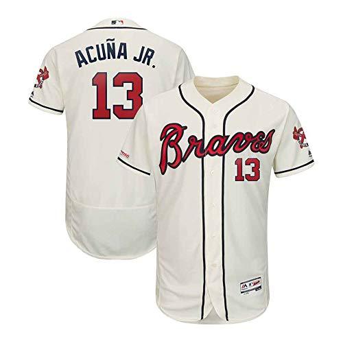 VFs Men's Atlanta Braves Ronald Acuña Jr #13 Flex Base Player White Home Jersey (White, XL) Atlanta Braves Home White Jersey
