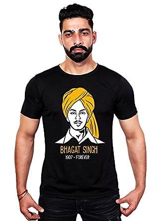 e8d79e3e89 Gajari Mens Shaheed Bhagat Singh T-Shirt, Black Color, Half Sleeve, Round