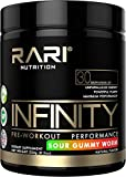 RARI Nutrition - Infinity - 100% Natural Pre Workout Powder for Energy, Focus, and Performance - Men and Women - Vegan and Keto Friendly - No Creatine - 30 Servings (Sour Gummy Worm)