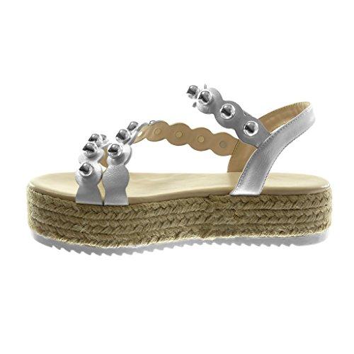 Angkorly Damen Schuhe Sandalen Espadrilles - Knöchelriemen - Plateauschuhe - Nieten - Besetzt - Perle - Multi-Zaum Keilabsatz High Heel 4.5 cm Weiß