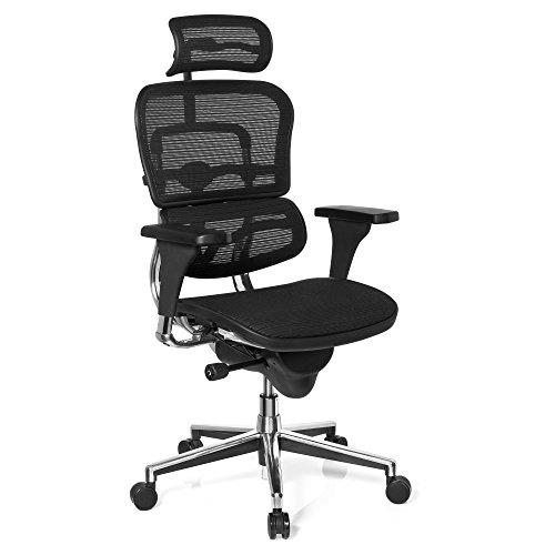 hjh OFFICE 652980 silla de oficina ERGOHUMAN BASE ONE tejido de malla negro, alta calidad, solido aluminio pulido, ergonomico, sillon alta gama