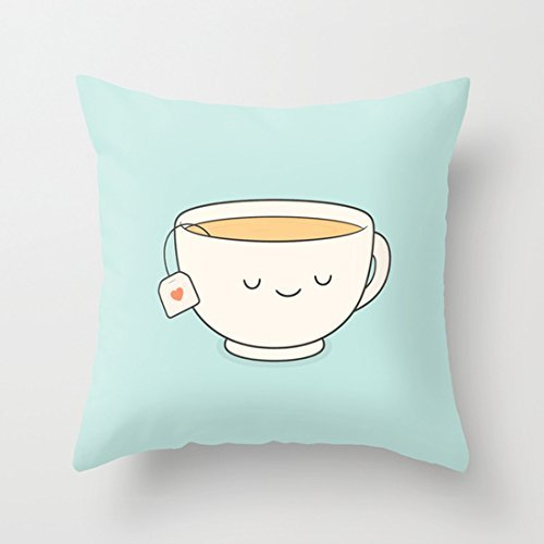 Cute Teacup Prints Pillow Covers Decorative Accent Pillows Pillowcase Cushion Cover Zipper Closure for Teen Girls 41hJwS2bokL