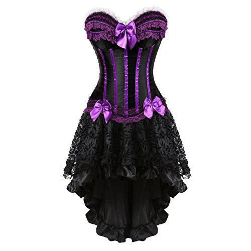 frawirshau Gothic Halloween Lace up Corset Moulin Rouge Showgirl Clubwear Fancy Dress 2XL -