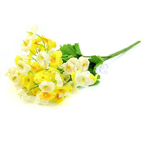 MAZIMARK--New Campanula Fake Flower Silk Leaf Artificial Home Wedding Decor Bridal Bouquet (yellow)