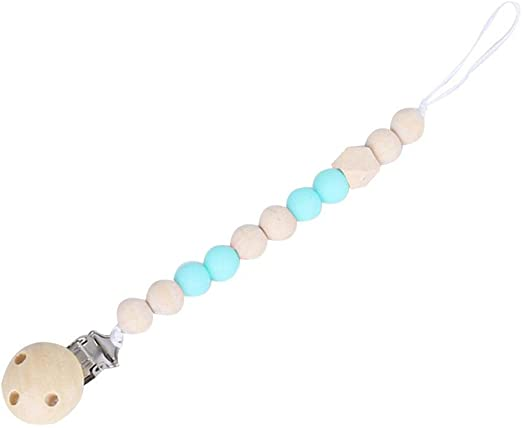 Oraunent Pacifier Clip Silicone /& Wood Beads Teether Toy Pacifier Chain Blue