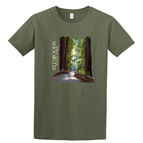 Redwoods State Park, California - Pathway in Trees - Contour (Military Green T-Shirt Medium)
