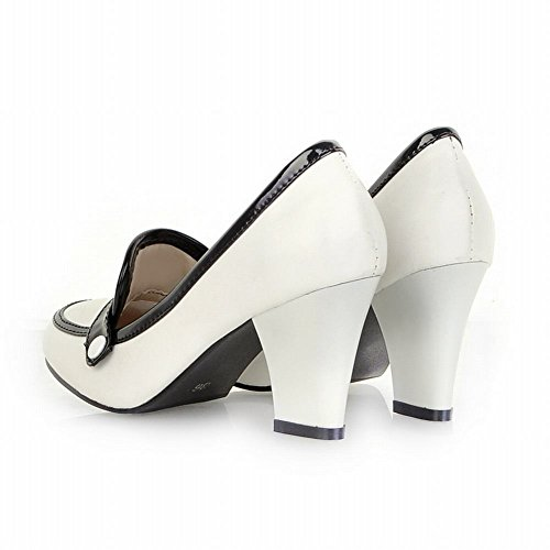 Carol Zapatos Moda Para Mujer Elegance Multicolor Office Lady Style Chunky Bombas De Tacón Alto Zapatos Blanco