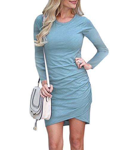 (Mansy Women's Long Sleeve Tulip Bodycon Dress Ruched Short Mini Dresses)