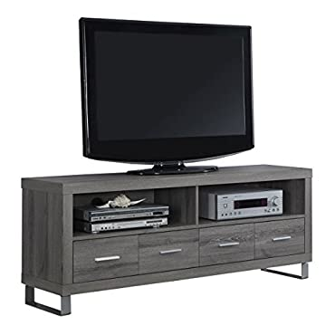 Monarch Specialties I 2517, TV Console with 4 Drawers, Dark Taupe Reclaimed-Look, 60 L