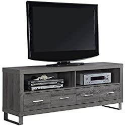 "Monarch Specialties I 2517, TV Console with 4 Drawers, Dark Taupe Reclaimed-Look, 60"" L"
