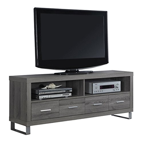 Tv Stand Metal Modern (Monarch Specialties I 2517, TV Console with 4 Drawers, Dark Taupe Reclaimed-Look, 60