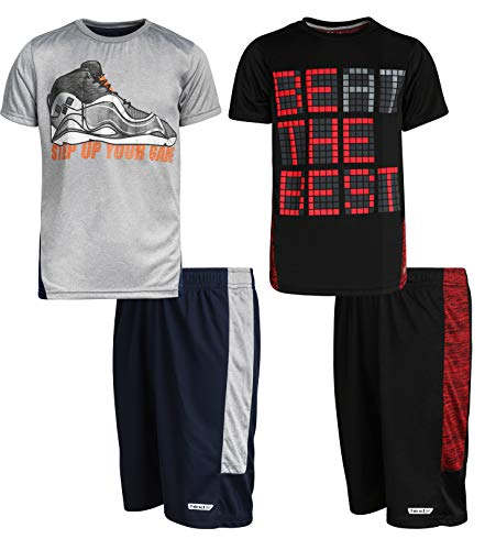 Hind Boys 4-Piece Matching Performance Athletic Shirt and Short Sets, Heather Grey/Black, Size 5/6