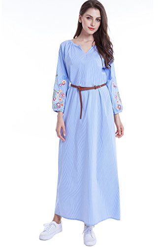 Clothing dubai Jalabiya abaya Islamic muslim 17 Blue Embroidery dress LF long Women qwHZH4F