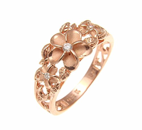 (Rose pink gold plated silver 925 Hawaiian 3 plumeria flower cz ring maile cut out scroll size 6.5)