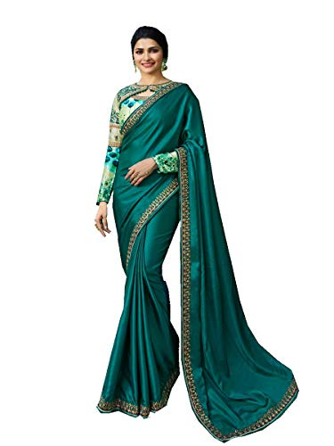 (Delisa Fashion Indian Ethnic Bollywood Saree .Party Wear Saree,Pakistani Designer Sari Wedding, Saree for Womens (Turquoise))