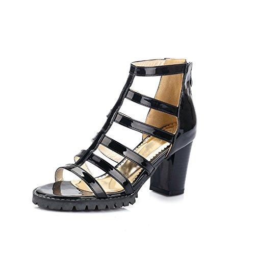 YCMDM Womens Peep Toe High Heel Salsa Tango ballo latino Monk Strap Sandals di ballo di sera del partito da sposa , black , 34