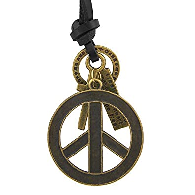 Buy Shining Jewel Black Brass Leather Cord Necklace With Peace
