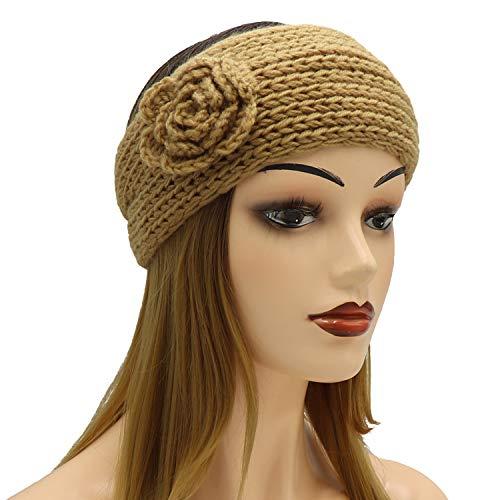 Aiphamy Knitted Headband Head Wrap Ear Warmer for Women (Flowers - -