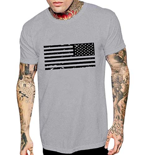 (Men Patriotic T Shirt,Toponly Summer Athletic Boys O Neck Short Sleeve American Flag Print Tees Muscle Sports Tee Tops Pullover)