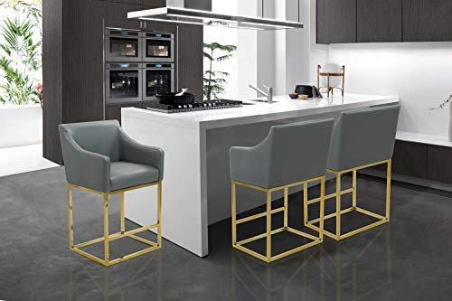 Iconic Home Bluebell Counter Stool Chair PU Leather Upholstered Slope Arm Design Architectural Goldtone Solid Metal Base, Modern Contemporary, Grey