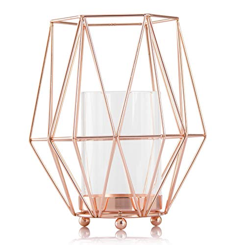 Skyera Candlestick Candle Holders Rose Gold Geometric Iron Candlestick for Wedding Centerpiece, Table Decorations, Home Decor, Patio Decor, Ideal for Bridal, Weddings, Parties, Special -