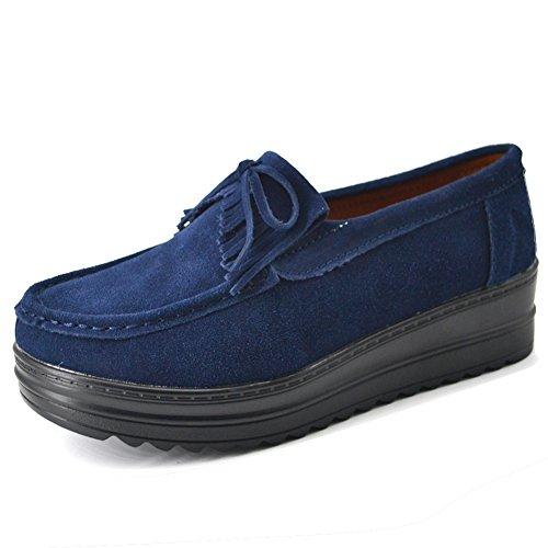 HKR Frauen Quasten-Plattform-Müßiggänger-Wildleder-Mokassin-Komfort-Beleg auf breiten Arbeits-Schuhen Dunkelblau