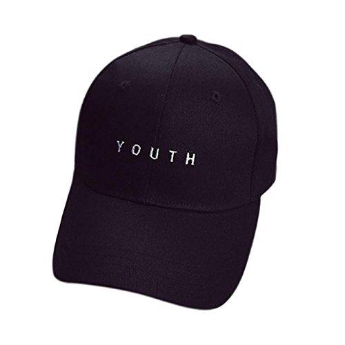 Baomabao Cotton Baseball Cap Boys Girls Snapback Hip Hop Flat Hat (Black) e20433d1cc81