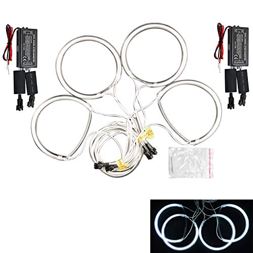 4 * 131mm Rings Blanco No es Compatible con no-proyector ALBRIGHT 7000K Super Brillante Blanco Angel Eyes Halo Ring LED CCFL Faro para E46 A Prueba de choques /& Hidr/ófugo