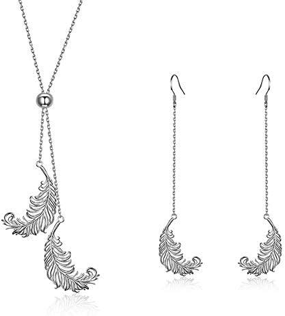 J.Memi's Damen Feder Halskette 925 Sterling Silber Platiniert Anhänger Ohrringe Vintage Exquisit Schmuck Hochzeit Weihnachten