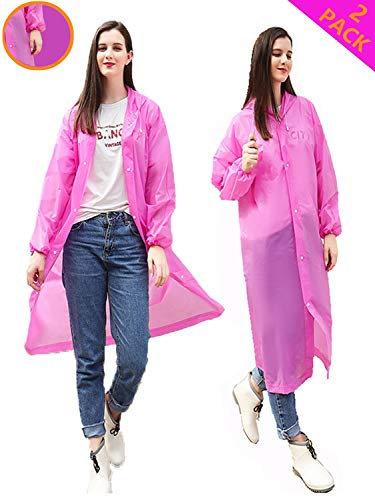 HLK.Sports Rain Ponchos, [2 Pack] Reusable EVA Rain Coat, Size 59