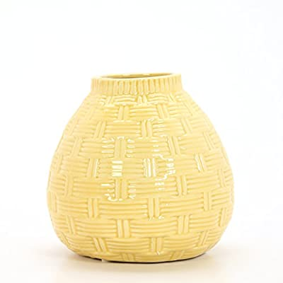 "Hosley 6.5"" High Yellow Ceramic Table Top or Floor Vase. Ideal Gift for Wedding, Bridal, or Party O9 - PRODUCT: Hosley's 6.5'' High Yellow Ceramic Vases USE: Great for adding a decorative touch to any room's decor. Wonderful accent piece for coffee tables or side tables. Perfect for everyday use, wedding, events, aromatherapy,Spa, Reiki, Meditation. BENEFITS: They can accent your home or office for the right decor with or without floral or greenery additions. - vases, kitchen-dining-room-decor, kitchen-dining-room - 41hJyrYcHcL. SS400  -"