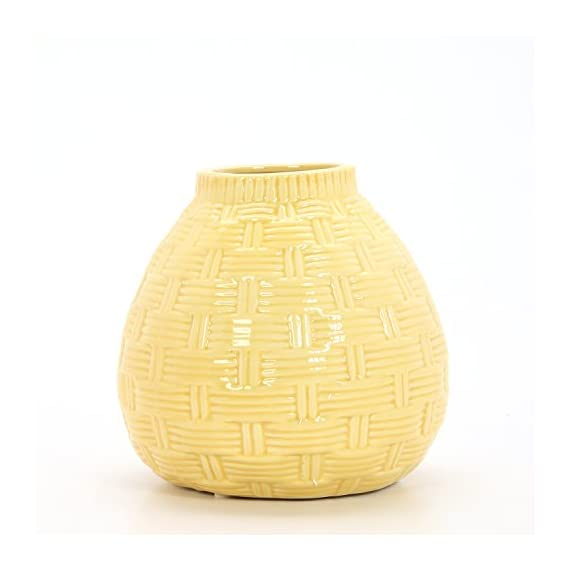 """Hosley 6.5"""" High Yellow Ceramic Table Top or Floor Vase. Ideal Gift for Wedding, Bridal, or Party O6 - PRODUCT: Hosley's 6.5'' High Yellow Ceramic Vases USE: Great for adding a decorative touch to any room's decor. Wonderful accent piece for coffee tables or side tables. Perfect for everyday use, wedding, events, aromatherapy,Spa, Reiki, Meditation. BENEFITS: They can accent your home or office for the right decor with or without floral or greenery additions. - vases, kitchen-dining-room-decor, kitchen-dining-room - 41hJyrYcHcL. SS570  -"""