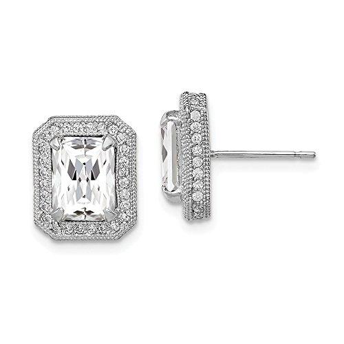 Mia Diamonds 10K Tiara Collection White Gold Polished CZ Earrings