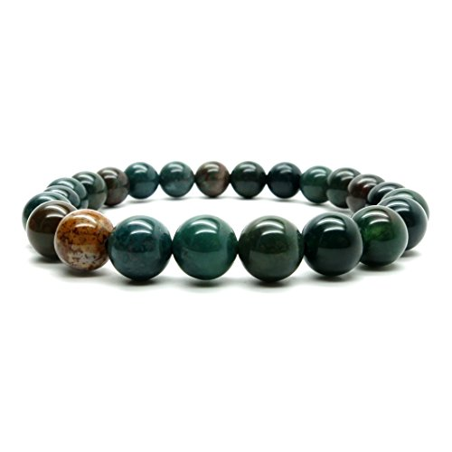 Bloodstone Bracelet 7mm Boutique Stretch Genuine Green Red Round Prayer Meditation Gemstone Crystal Energy B02 (7.75