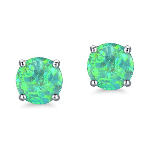 White Gold Plated Opal Stud Earrings with Round Cut Green Opal for Women Girls Hypoallergenic(6mm)