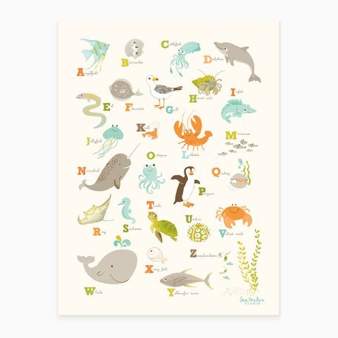 Sea & Shore Ocean Alphabet Poster, Wall Decor Art Print (Orange)