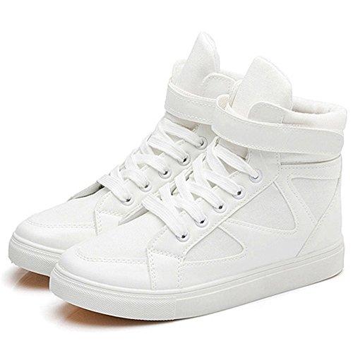 Dayiss Damen High Top Sneaker Leinenschuhe Sportschuhe Turnschuhe mit Klettverschluss Weiß