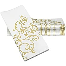 """Simulinen Dinner Napkins – GOLD & WHITE – Decorative Cloth Like & Disposable Large Napkins – Soft, Absorbent & Durable (19""""x17"""" – Box of 60)"""