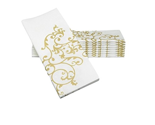 "SimuLinen Dinner Napkins – GOLD & WHITE – Decorative Cloth Like & Disposable Large Napkins – Soft, Absorbent & Durable (19""x17"" – Box of - Foods Fancy List"