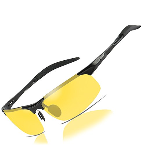 (Mens Womens Night Vision Driving Sports Design Anti Glare Rain Day Glasses with Yellow Lens for Outdoor Activities Sunglasses)