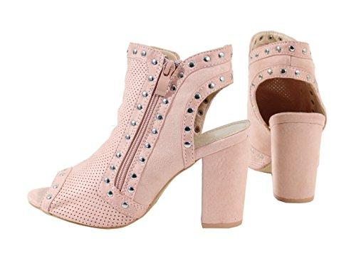 By Shoes Sandale Cloutée Style Daim - Femme Pink X6zQHh