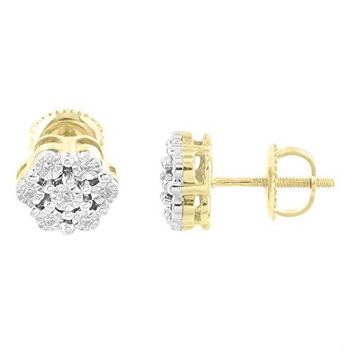 10k Yellow Gold Earrings Flower Design 7mm Screw On Real Diamonds Brand New by Master Of Bling