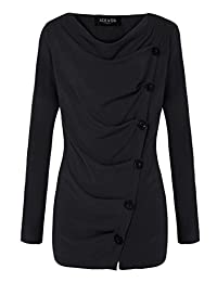 ACEVOG Women Cowl Neck Button Embellished Ruched Long Sleeve Blouse Top