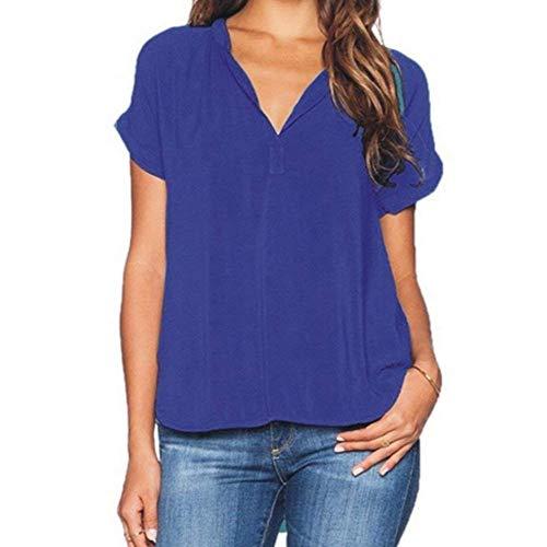 Mousseline Et L'Air Mode Chemisier Uni Cou Courtes Branch Chemisiers Femme Permable Top Manche Blau Casual Irrgulier Chic lgant Shirt Manches V xItqq1SZw