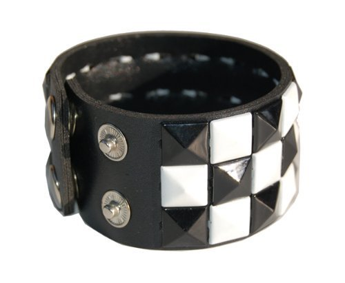 Triple Studded Wristband Punk Rock - Black And White Checkered
