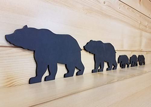 (Black Bear Family - Bear Wall Art - Bear Woodwork - Wooden Bear Silhouette - Bear Family Art - Bear Family of 5 - Animal Art)