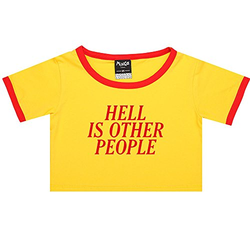 Person Ringer T-shirt (Hell Is Other People Ringer Tee Crop T-Shirt Fun Women's Tumblr Grunge Goth Kawaii)